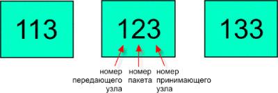 Адресная часть пакетов узла 1