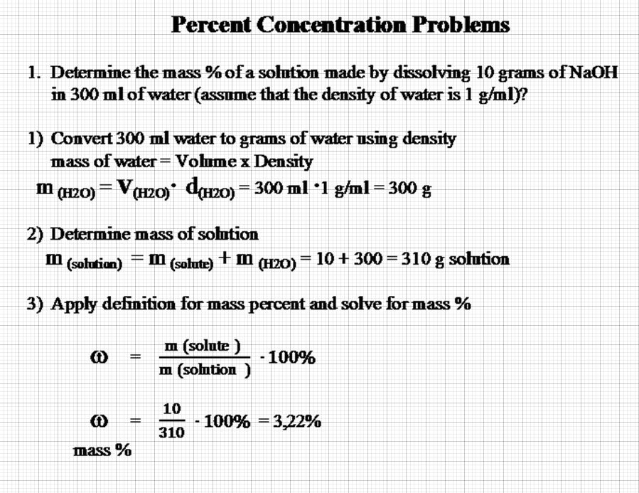 concentration, solution, density essay A) determination of the density of solutions of known and unknown concentration 1) your instructor has prepared nacl solutions of the following percentages by weight: 5%, 10%, 15%, 20%, and 25.