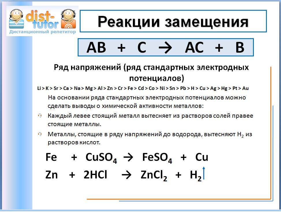 Взаимодействие активных металлов с водой, с растворами кислот, стоящих в ряду химической активности металлов или ещё...